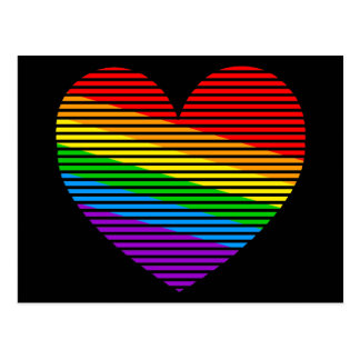 Corey Tiger 80s Rainbow Stripe Heart Postcard