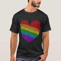Corey Tiger 80s Rainbow Stripe Heart Shirt