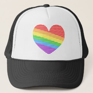 Corey Tiger 80s Rainbow Stripe Heart Trucker Hat