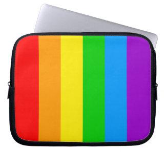 Corey Tiger 80s Rainbow Stripes Flag Computer Sleeve