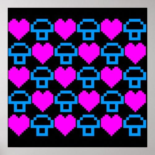 Corey Tiger 80s Retro 8bit Mushroom Love Poster