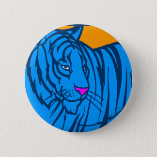 COREY TIGER 80s RETRO BLUE JUNGLE TIGER Pinback Button