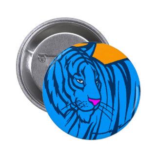 COREY TIGER 80s RETRO BLUE JUNGLE TIGER Pinback Button