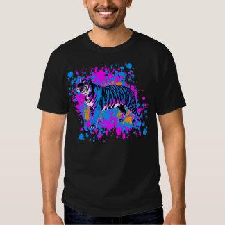 Corey Tiger 80s Retro Blue Tiger Paint Splatter T-Shirt