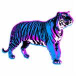 Corey Tiger 80s Retro Blue Tiger Photo Sculpture Button