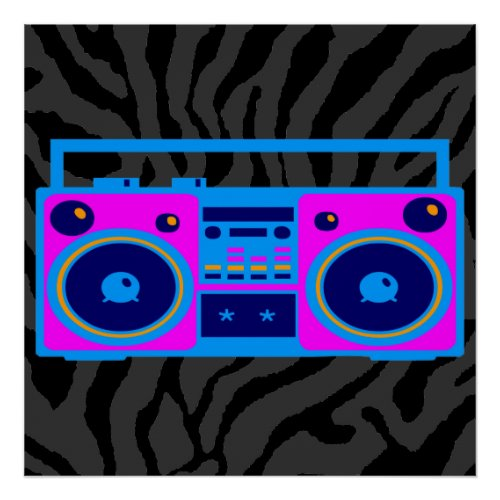 Corey Tiger 80s Retro Boombox Radio Poster