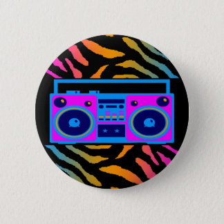 COREY TIGER 80s RETRO BOOMBOX TIGER STRIPES Pinback Button