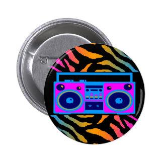 COREY TIGER 80s RETRO BOOMBOX TIGER STRIPES Pinback Button