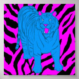 Corey Tiger 80s Retro Growling Tiger Poster
