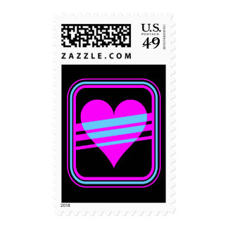 Corey Tiger 80s Retro Heart Stripes Postage Stamps