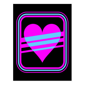 Corey Tiger 80s Retro Heart & Stripes Postcard