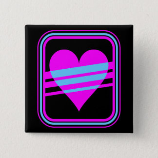 Corey Tiger 80s Retro Heart & Stripes Square Pin