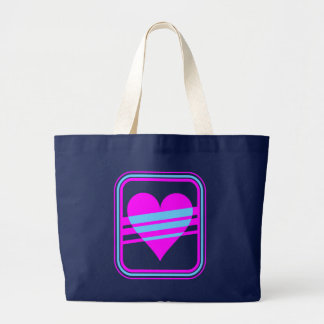 Corey Tiger 80s Retro Heart & Stripes Tote Bag
