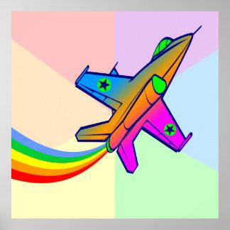 Corey Tiger 80s Retro Jet Fighter Plane Rainbow Poster