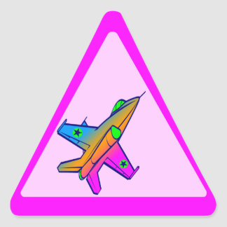 Corey Tiger 80s Retro Jet Fighter Plane Triangle Stickers
