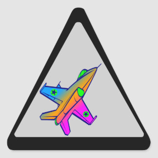 Corey Tiger 80s Retro Jet Fighter Plane Triangle Sticker