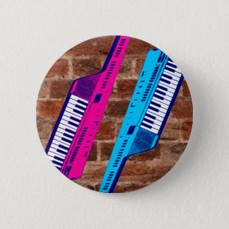 Corey Tiger 80's Retro Keytar Brick Wall Pinback Button