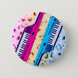 Corey Tiger 80's Retro Keytar Neon Snow Leopard Pinback Button