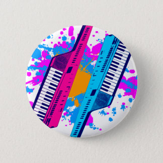 Corey Tiger 80's Retro Keytar Neon Splatter Button