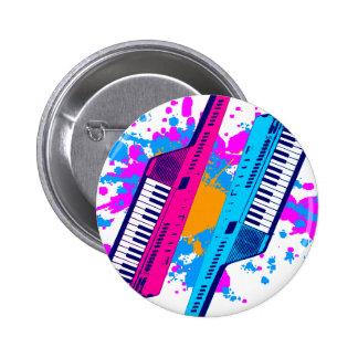 Corey Tiger 80's Retro Keytar Neon Splatter Pinback Buttons
