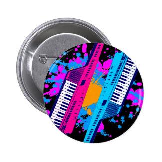 Corey Tiger 80's Retro Keytar Neon Splatter 2 Inch Round Button