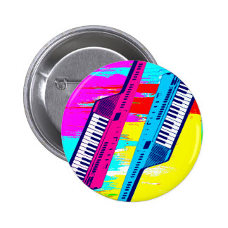Corey Tiger 80's Retro Keytar Paint Drip 2 Inch Round Button
