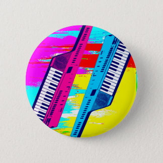 Corey Tiger 80's Retro Keytar Paint Drip Pinback Button