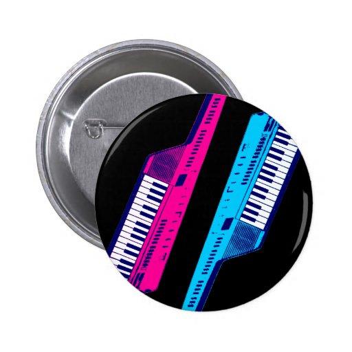 Corey Tiger 80's Retro Keytar Pink & Blue Button