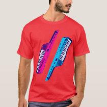 Corey Tiger 80's Retro Keytar Pink & Blue T-Shirt