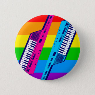 Corey Tiger 80's Retro Keytar Rainbow Pinback Button