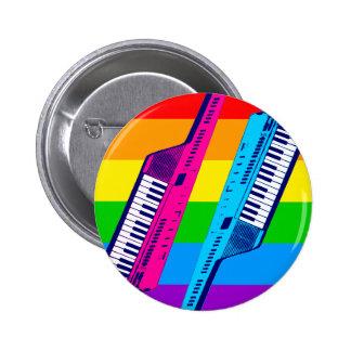 Corey Tiger 80's Retro Keytar Rainbow Pinback Button