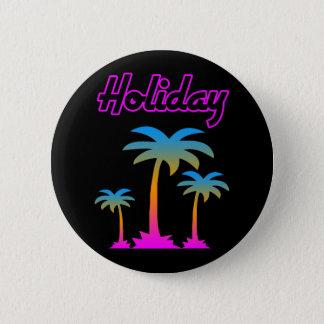 COREY TIGER 80s RETRO PALM TREES HOLIDAY ISLAND Button