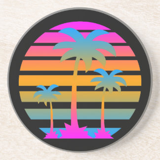 Corey Tiger 80s Retro Palm Trees Sunset Coaster