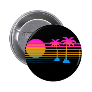 COREY TIGER 80s RETRO PALM TREES TROPICAL SUNSET 2 Inch Round Button