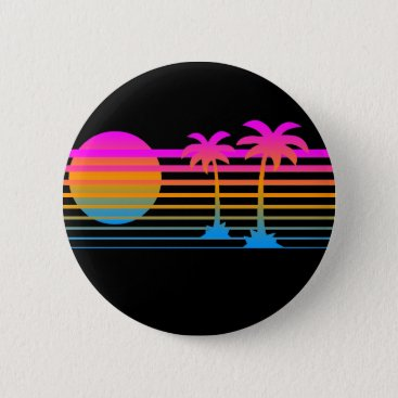 Beach Themed COREY TIGER 80s RETRO PALM TREES TROPICAL SUNSET Button