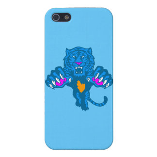 Corey Tiger 80s Retro Pouncing Tiger (Blue) Cover For iPhone SE/5/5s