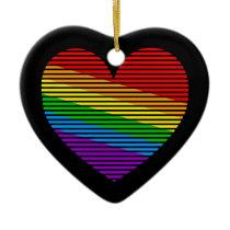 Corey Tiger 80s Retro Rainbow Stripe Heart Ceramic Ornament