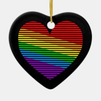 Corey Tiger 80s Retro Rainbow Stripe Heart Christmas Ornament