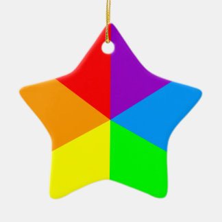 Corey Tiger 80s Retro Star Rainbow Wedges Double-Sided Star Ceramic Christmas Ornament