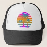 "Corey Tiger 80s Retro Sunset Palm Trees Trucker Hat<br><div class=""desc"">Just one of many designs available on a wide array of quality products.  