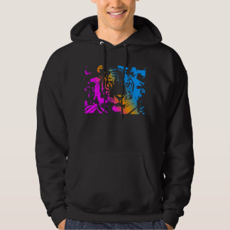 COREY TIGER '80s RETRO TIGER FACE NEW WAVE COLOURS Hoodie