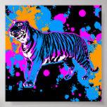 Corey Tiger 80s Retro Tiger Paint Splatter Poster
