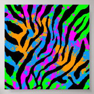 Corey Tiger 80s Retro Tiger Pattern Poster