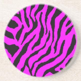 Corey Tiger 80s Retro Tiger Stripes Sandstone Coaster
