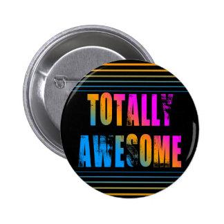 COREY TIGER 80s RETRO TOTALLY AWESOME STRIPES Button