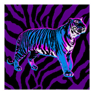 Corey Tiger 80s Retro Vintage Tiger Stripes Poster
