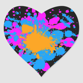 Corey Tiger 80s Splatter Paint Heart Sticker
