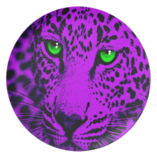 Corey Tiger 80s Style Leopard Face Party Plates