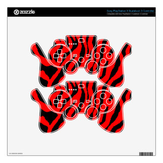 Corey Tiger 80s Tiger Stripes Black & Red Decal For PS3 Controller