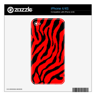 Corey Tiger 80s Tiger Stripes Red Decal For iPhone 4